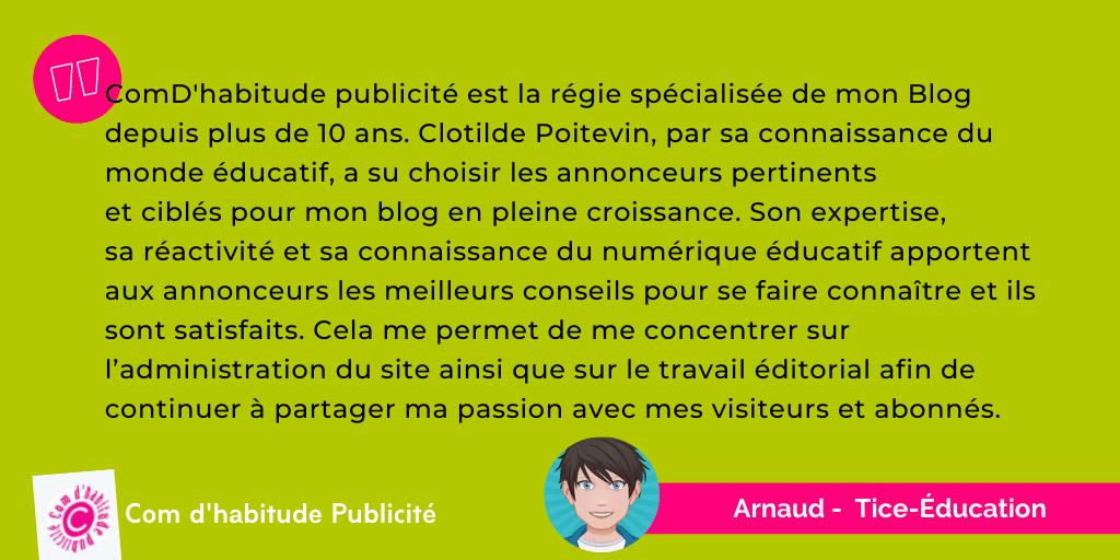 Témoignage Comdhabitude - Arnaud - Tice-Education