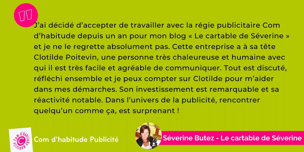 Témoignage Comdhabitude - Séverine Butez - Le cartable de Séverine